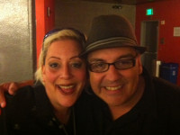 Backstage at the Kirk Douglas Theatre with Latino Playwright, Luis Alfaro.