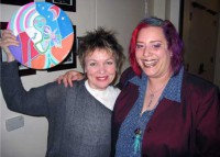 Backstage at Royce Hall, Sky gifted Laurie with an Alien Diva portrait, a vision of Laurie as an alien with her violin.