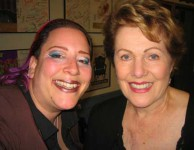 Diva actress Lynn Redgrave having a reunion with SKY 20 years later backstage at the Mark Taper Theatre.